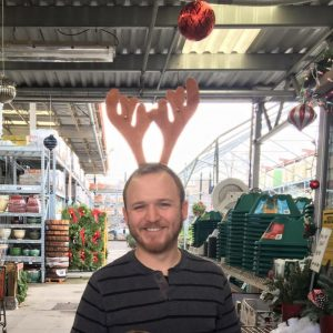 Alex Williams with reindeer antlers